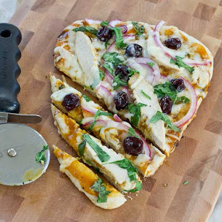 Grilled BBQ Chicken Naan Pizza with Tart Cherries.