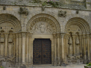 Photo: The Romanesque porch, with its intricate stone carvings, is from the 12th century.