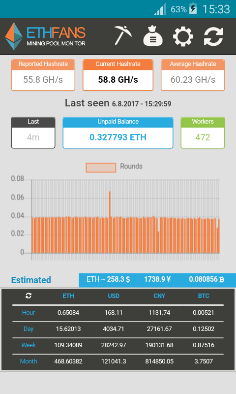 EthFans Mining Pool Monitor- screenshot