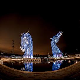 Kelpies , Falkirk, Scotland  by Gordon Stewart - Buildings & Architecture Statues & Monuments ( water, scotland, sculpture, horses, blue )
