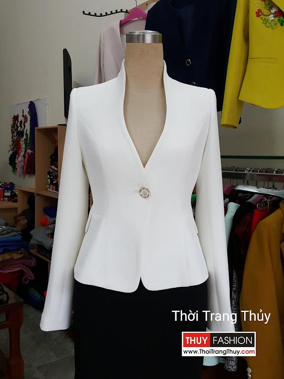 Áo vest nữ công sở cổ dự chữ V cong màu trắng V502 Thời Trang Thủy