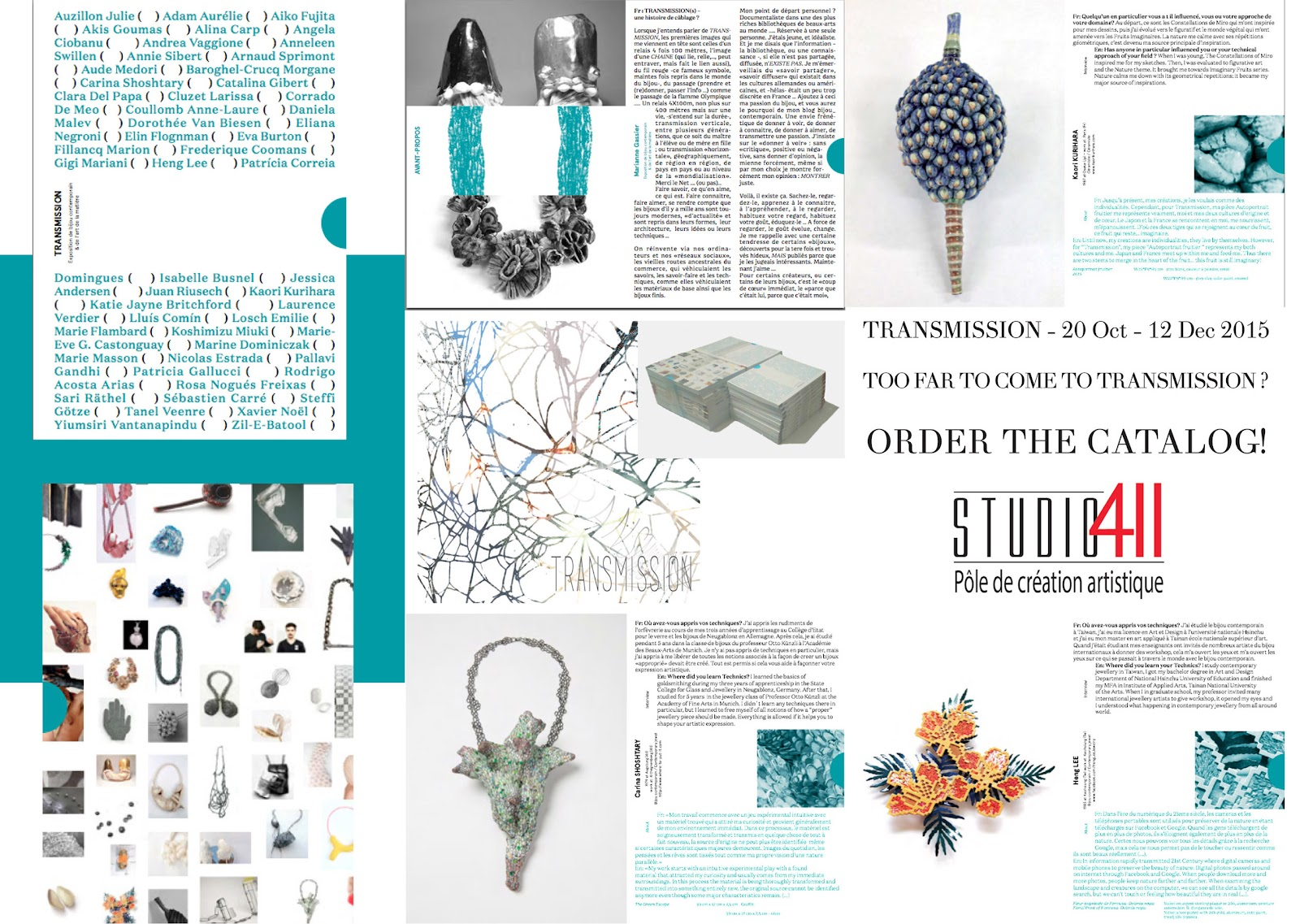Catalogue : Transmission - exhibition of Art Jewellery and fine Art (20 Oct - 12 Dec 2015) Montpellier France