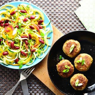 Caribbean Inspired Turkey Quinoa Patties and Peach Zucchini Slaw.