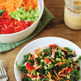 Asian Kale Salad with Almond Butter Dressing.