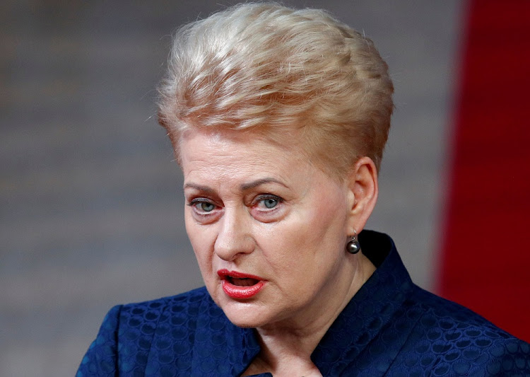 Lithuanian President Dalia Grybauskaite at the European Union leaders summit in Brussels, Belgium, October 17 2018. Picture: REUTERS/FRANCOIS LENOIR