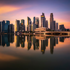 by Gordon Koh - City,  Street & Park  Skylines ( reflection, city, dusk, night, asia, city park, skyline, singapore, shenton, modern, urban, symmetry, nightscape, cityscape, modern city, esplanade, blue hour, lake, park, mbs )