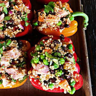 Ham Quinoa-Stuffed Peppers with Peas.