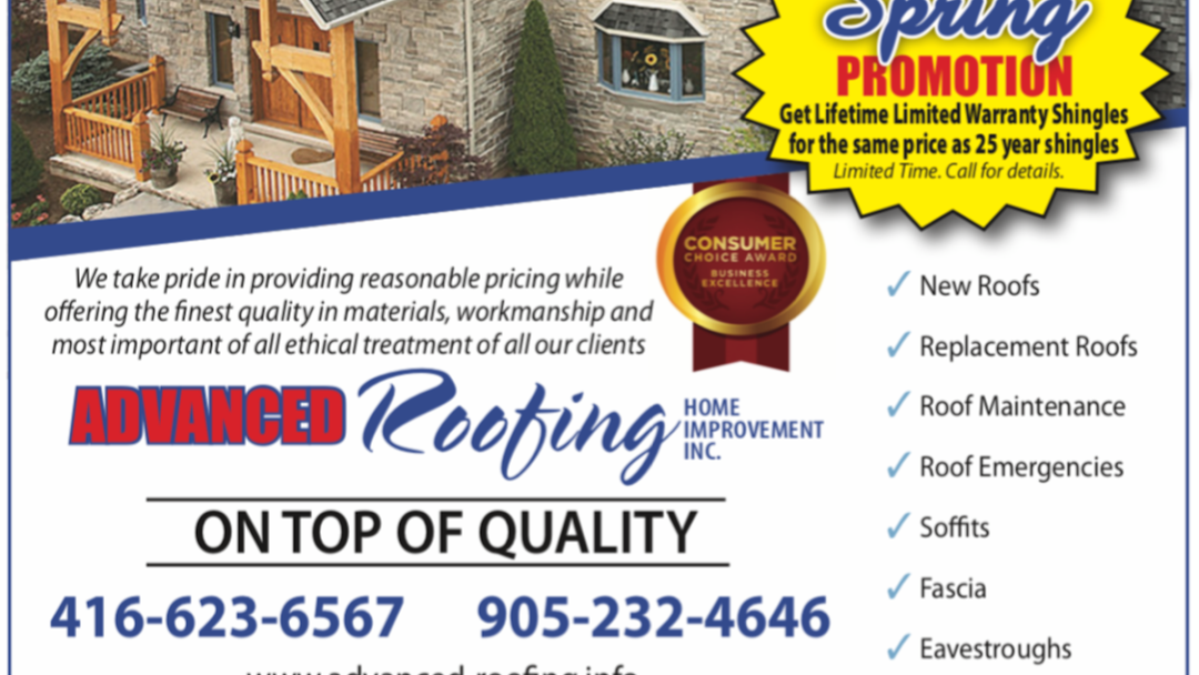 Advanced Roofing Home Improvement Inc Roofing Contractor In Mississauga
