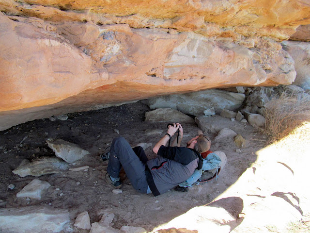 Chris photographing rock art near the Grotto