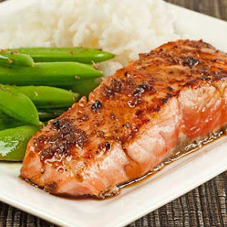 Salmon Fillets with Garlic-Soy Pan Sauce.