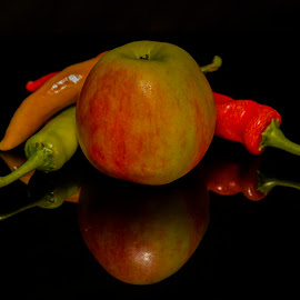 Fruits & Vegetables by Mark Per - Food & Drink Fruits & Vegetables ( apple, mirror, fruit, vegetable, food, chilli,  )