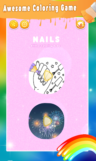Glitter Nail Drawing Book and Coloring Game 3.0 screenshots 1