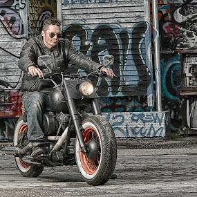 Born to ride by Tom Mehlum - People Street & Candids ( free, freedom, motorbike, graffiti, motor, street, motorcycle, man )