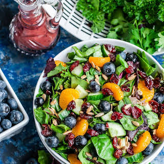 Cranberry Blueberry Spring Mix Salad with Blueberry Balsamic Dressing.