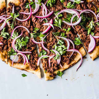 Spicy Lamb Pizza with Parsley–Red Onion Salad.