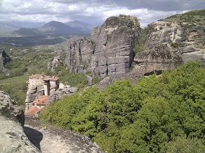 Photo: Meteora means 'hanging in the sky' and indeed the rocks and monasteries look like those from Myiazaki's 'Flying Castle'