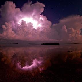 Summer Thunder  by Chris Wilson - Landscapes Starscapes ( thunder, florida keys, ocean, beach, seascape, landscape, island, lightning, florida, trees, night, thunder storm, gulf of mexico )