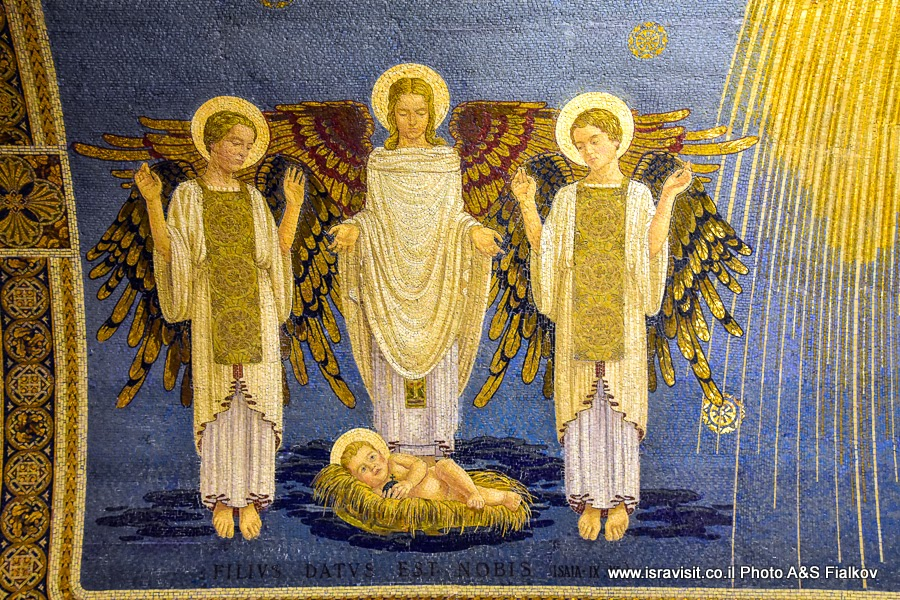 Мозаика католической церкви Преображения Господня на горе Фавор. Экскурсия по Нижней Галилеи.