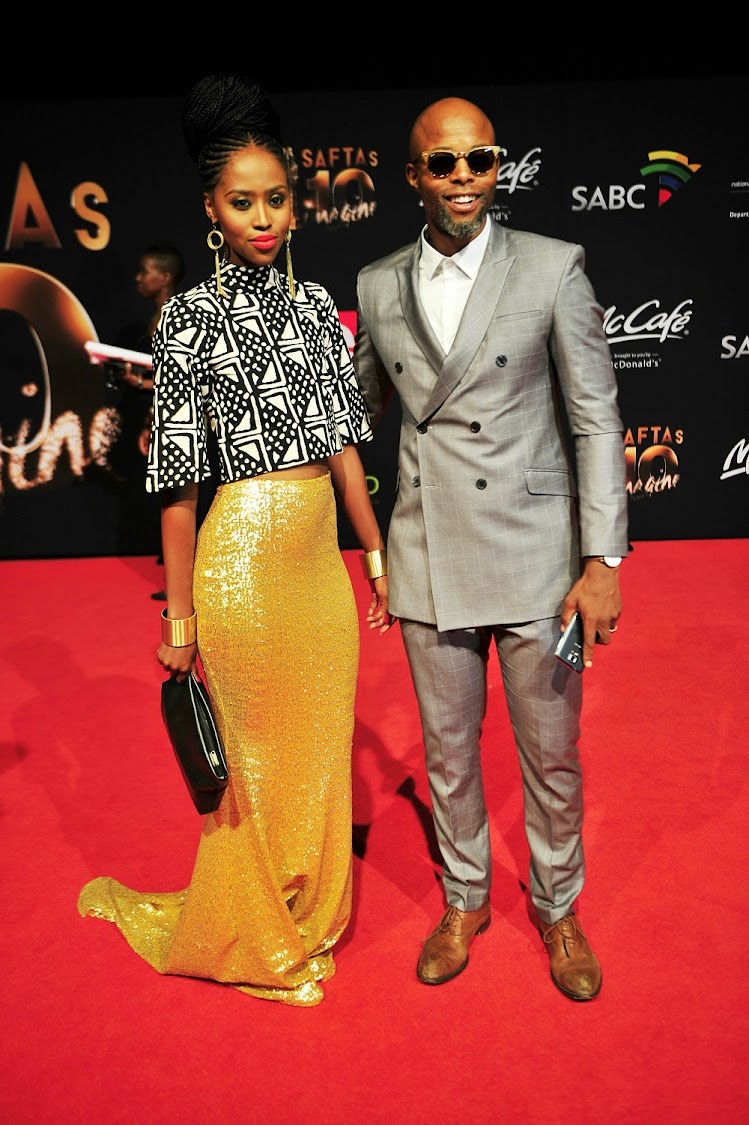 Actor Thapelo Mokoena and wife Lesego.
