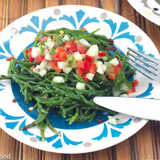 Sea Bean Salad w/ Cucumber & Tomatoes.