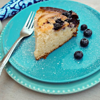 Honey, Peach, Blueberry & Yogurt Cake.