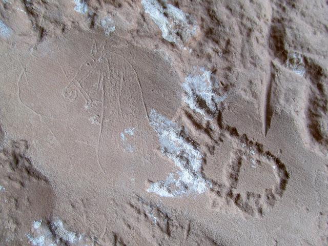 Horse drawing and bear print petroglyph