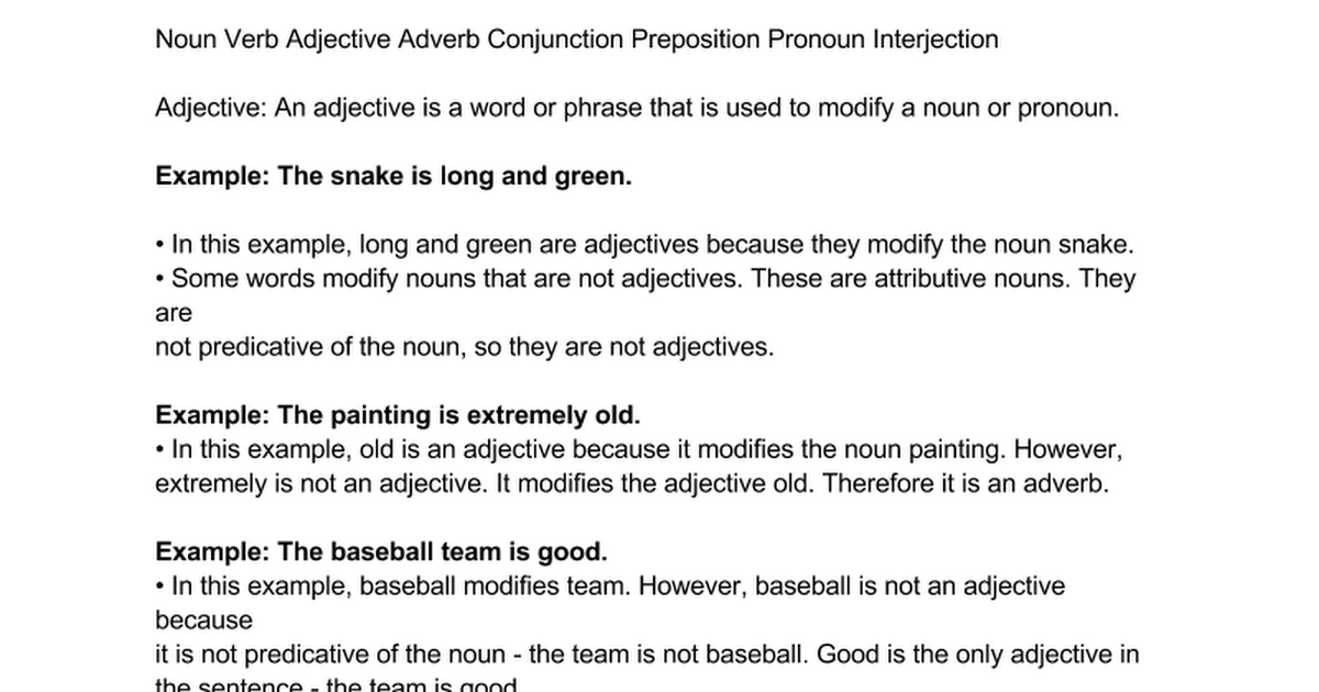 Adjectives Google Docs