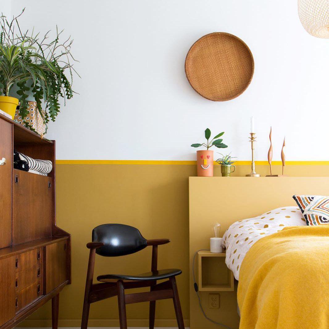 Mustard Color in a Scandi Bedroom