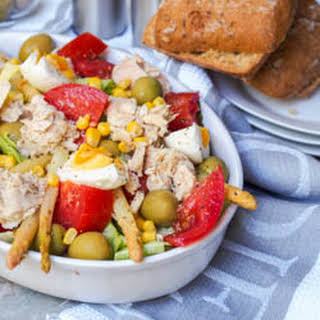 Spanish Mixed Salad with Tuna, Corn and Olives.