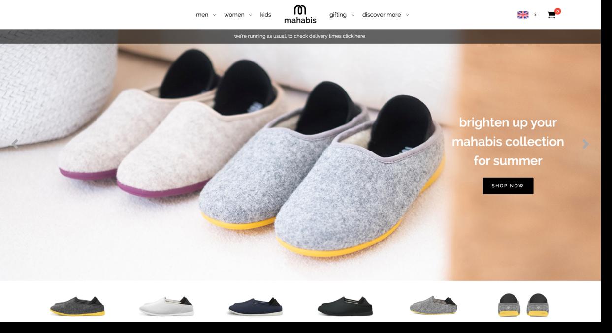 Mahabis website screenshot footwear company  Ecommerce Website Designs