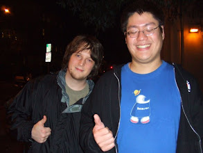 Photo: Mike and Richard at bus stop