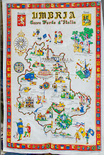 Photo: tea towel - it gave us an idea of the places of interest in Umbria