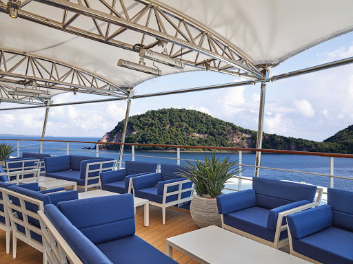 The terrace of the Panorama Lounge on Silver Moon.