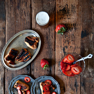 Grilled Angel Food Cake with Beer Macerated Strawberries.