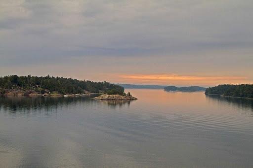 Sailing through an archipelago in Sweden.