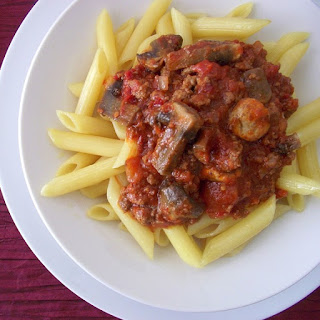 Slow Cooker Penne with Mushroom-Beef Sauce.