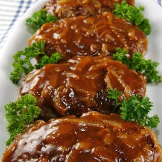 Salisbury Steak with Caramelized Onion Gravy.