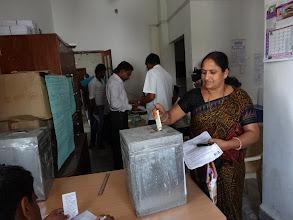 Photo: Dropping the Ballot in the Ballot Box - GHMC Elections
