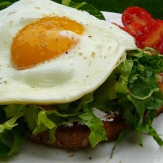 Open Faced Egg Sandwiches with Arugula Salad.