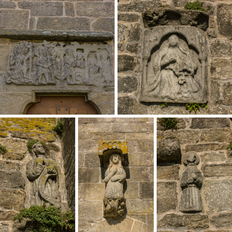 Esculturas repartidas por los muros de la iglesia