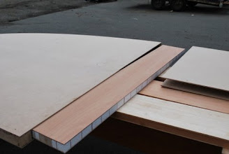 Photo: construction of round honeycomb core table