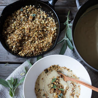 Cauliflower Leek Soup with Sage & Pine nut Crumble