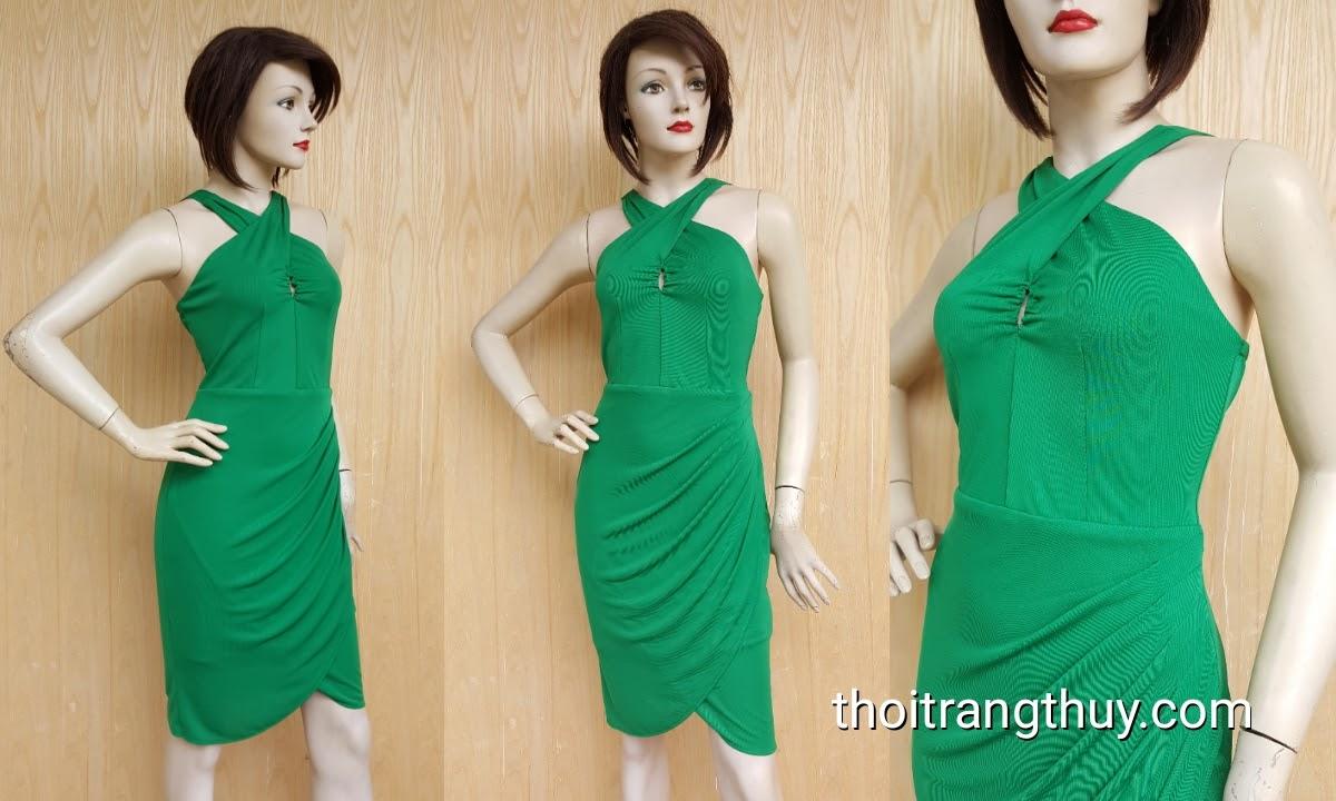 Váy ôm nhún eo cổ yếm vạt chéo nữ tính V443 Thời Trang Thủy