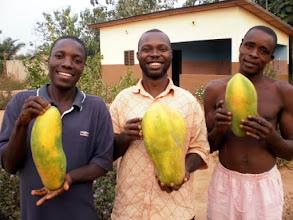Photo: les grosses papayes dans les mains des malades psychiatriques