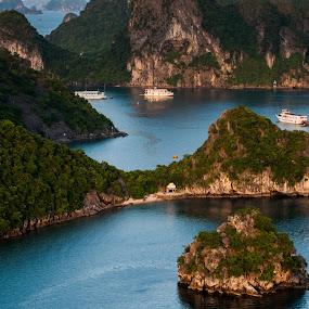 boats and hills by Sorin Tanase - Landscapes Travel ( hills, nature, ha long bay, boats, vietnam, landscape )
