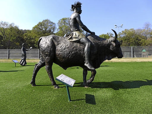 "Kgamanyane Pilane, chief of the baKgatla-baKgafela and ""defier of Paul Kruger"", is depicted astride a bull at Pretoria's National Heritage Monument."