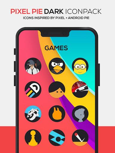 Screenshot for Pixel Pie DARK Icon Pack in Hong Kong Play Store