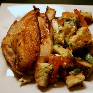 Lemon-Garlic Roasted Chicken Breasts with Panzanella.