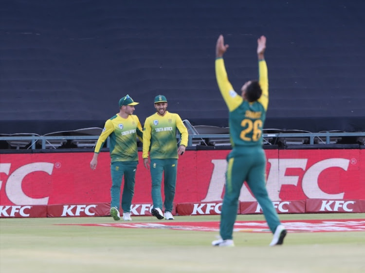 Tabraiz Shamsi of South Africa celebrates the wicket of Manish Pandey of India during the 3rd KFC T20 International match between South Africa and India at PPC Newlands on February 24, 2018 in Cape Town, South Africa.