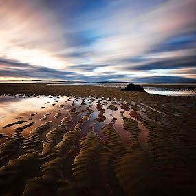 Rippled reflections by Lorraine Paterson - Landscapes Beaches ( scotland, ripples, beach, sunrise, dornoch )